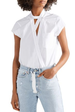 ALEXANDERWANG.T Wrap-effect cotton-poplin bodysuit