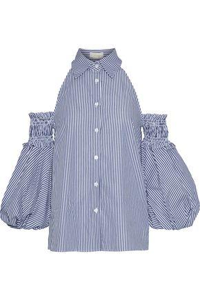 PETERSYN Dylan cold-shoulder shirred striped cotton top