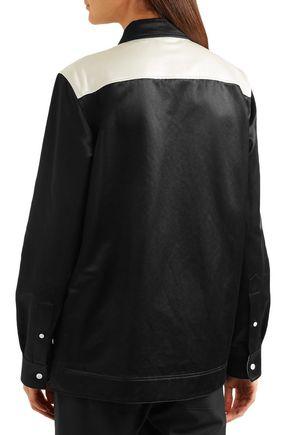 CALVIN KLEIN 205W39NYC Two-tone cotton-blend satin shirt