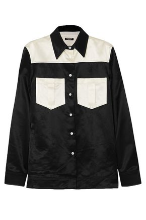 CALVIN KLEIN 205W39NYC Two-tone cotton-blend satin shirt