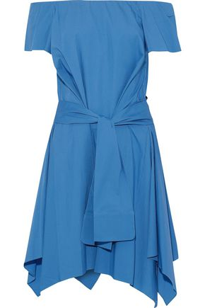 HALSTON HERITAGE Off-the-shoulder tie-front stretch-cotton poplin dress