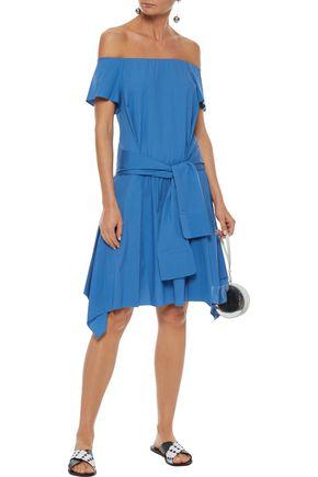 HALSTON HERITAGE Off-the-shoulder tie-front stretch-cotton poplin dress