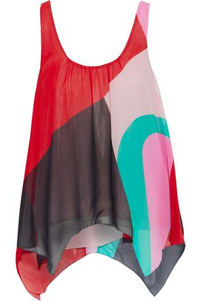 JOIE Felixa asymmetric color-block silk-chiffon tank
