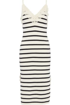 GOEN.J Crochet-trimmed striped French cotton-terry slip dress