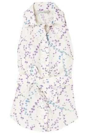 MAX MARA Abbono tie-front floral-print cotton-poplin top