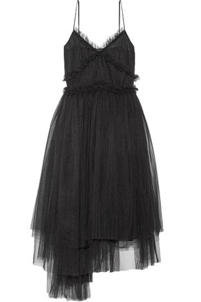 MSGM Flared asymmetric plissé-tulle midi dress