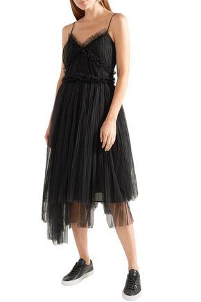 MSGM Flared asymmetric plissé-tulle midi dress