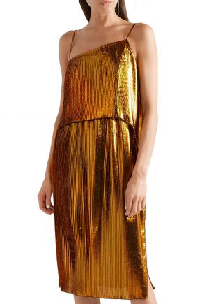 CEDRIC CHARLIER Draped plissé lamé dress