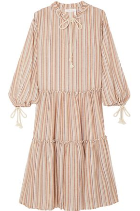 SEE BY CHLOÉ Bow-detailed striped gauze midi dress