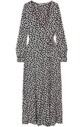 GANNI Floral-print crepe midi wrap dress