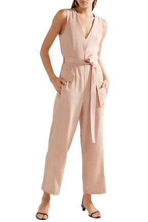 TIBI Belted silk crepe de chine jumpsuit