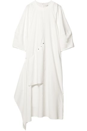 TIBI Asymmetric button-detailed woven mini dress