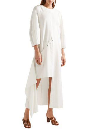 TIBI Asymmetric button-detailed woven mini dress
