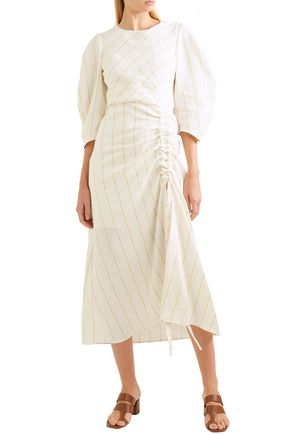 MAJE Striped woven midi dress