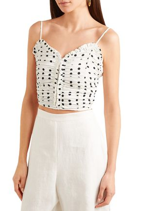 MAJE Polka-dot cropped ruched stretch-knit top