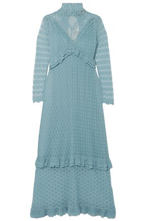 ALEXACHUNG Ruffle-trimmed pointelle-knit turtleneck midi dress