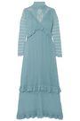 ALEXACHUNG Ruffle-trimmed pointelle-knit turtleneck midi dress