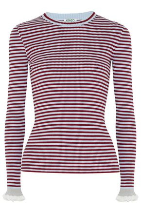 KENZO Striped ribbed cotton-blend top
