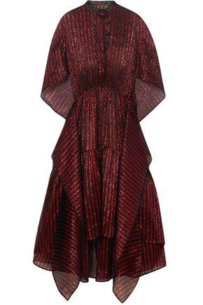 PETAR PETROV Cape-effect metallic striped woven midi dress