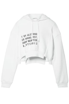 T by ALEXANDER WANG Printed cotton-fleece hooded sweatshirt