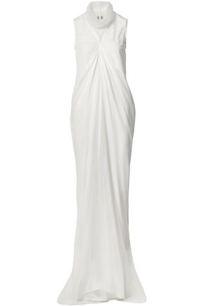 RICK OWENS Layered silk crepe de chine and tulle gown