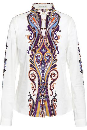 ETRO Printed stretch-cotton poplin shirt