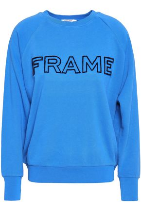 FRAME Embroidered French cotton-terry sweatshirt