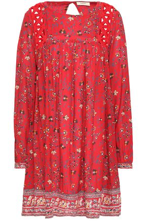 BA&SH Floral-print crochet-trimmed woven mini dress