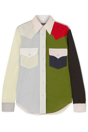 CALVIN KLEIN 205W39NYC Color-block cotton-poplin shirt