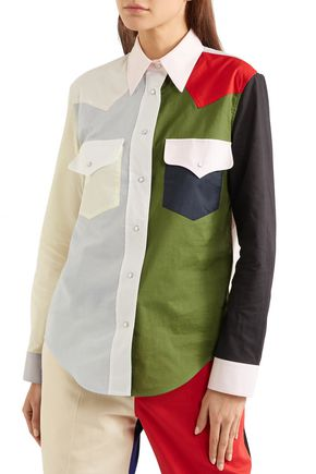 CALVIN KLEIN 205W39NYC Color-block cotton-poplin shirt