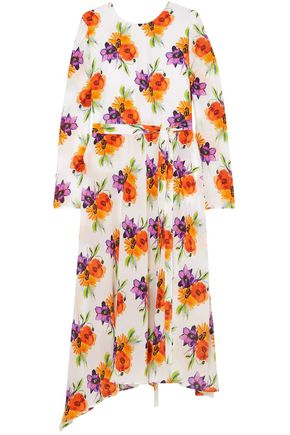MSGM Floral-print silk crepe de chine midi dress