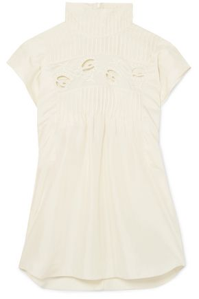 CHLOÉ Pintucked broderie anglaise silk-charmeuse turtleneck top