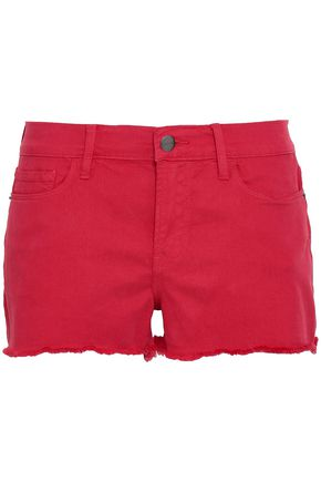 FRAME Frayed denim shorts