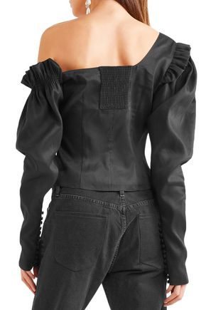 MAGDA BUTRYM Vannes off-the-shoulder ruffled linen and silk-blend top