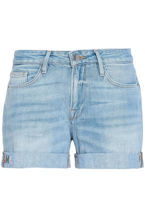 FRAME Embroidered denim shorts