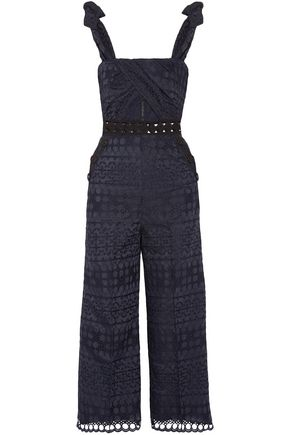 SELF-PORTRAIT Cropped cutout broderie anglaise jumpsuit