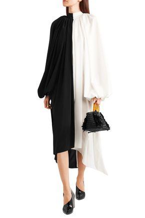A.w.a.k.e. Dresses A.W.A.K.E. WOMAN TWO-TONE CREPE DE CHINE MIDI DRESS BLACK