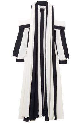 MONSE Cold-shoulder striped georgette midi dress
