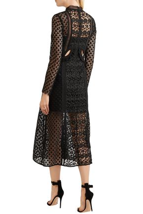 SELF-PORTRAIT Cutout lace midi turtleneck dress