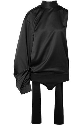 SOLACE LONDON One-shoulder satin turtleneck bodysuit