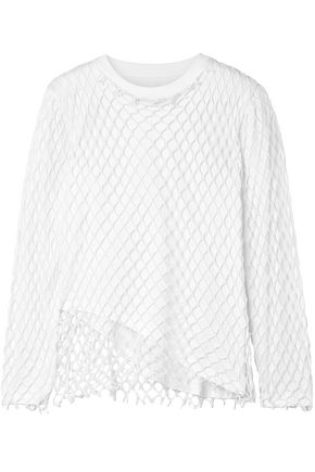 MARQUES' ALMEIDA Layered fishnet and cotton-jersey top