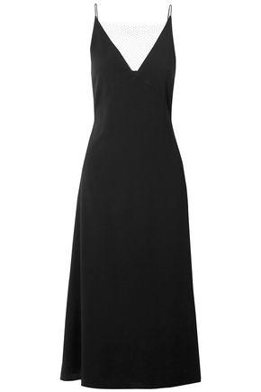 DION LEE Mesh-trimmed crepe midi dress