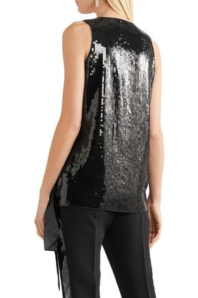 VICTORIA, VICTORIA BECKHAM Satin-trimmed sequined woven wrap top