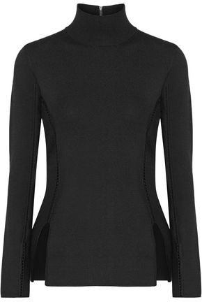 DION LEE Crochet-trimmed stretch-ponte turtleneck top