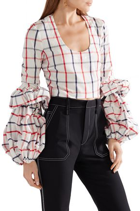 ROSIE ASSOULIN Tiered cropped checked cotton-blend top