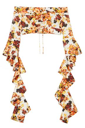 ELLERY High Noon off-the-shoulder ruffled floral-print crepe top