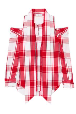 MONSE Cold-shoulder gingham cotton-poplin top
