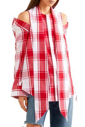 MONSE Cold-shoulder gingham cotton-poplin top