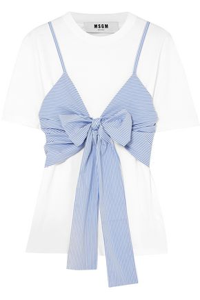 MSGM Knotted layered cotton-poplin and jersey top