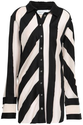 MARQUES' ALMEIDA Oversized striped cotton and silk-blend shirt